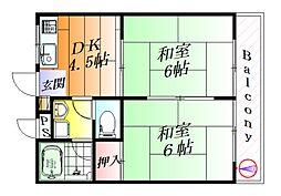 大阪府摂津市東別府2丁目の賃貸マンションの間取り