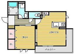 大阪府茨木市東宮町の賃貸マンションの間取り
