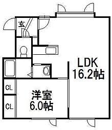 北海道札幌市西区発寒三条2丁目の賃貸アパートの間取り