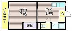 第16島田マンション[206号室]の間取り