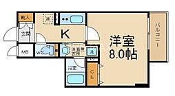 ベラジオ京都西院ウエストシティIII 7階1Kの間取り