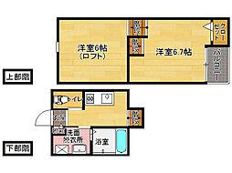 福岡県福岡市城南区南片江6丁目の賃貸アパートの間取り