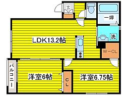 北海道札幌市東区本町二条3丁目の賃貸アパートの間取り