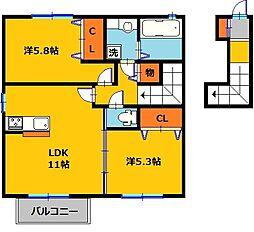 コーポ田村NO1[2階]の間取り
