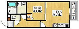 大阪府堺市堺区戎之町東3丁の賃貸アパートの間取り