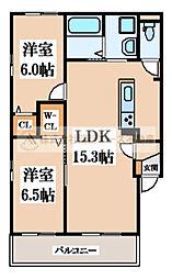 大阪府堺市北区大豆塚町1丁の賃貸アパートの間取り