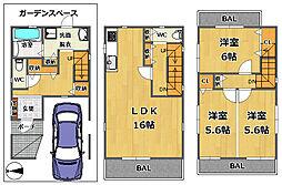 近鉄大阪線 高安駅 徒歩6分 3LDKの間取り