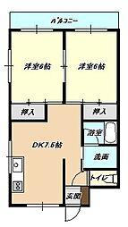 福岡県北九州市小倉北区大田町の賃貸マンションの間取り