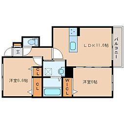 JR奈良線 木津駅 徒歩28分の賃貸アパート 1階2LDKの間取り