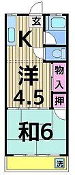 田村コーポ[203号室]の間取り