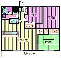 西川口パインマンションII[702号室]の間取り