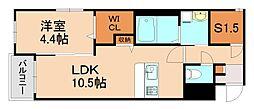 JR香椎線 酒殿駅 徒歩34分の賃貸マンション 4階1SLDKの間取り