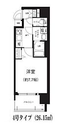 Osaka Metro谷町線 谷町六丁目駅 徒歩8分の賃貸マンション 2階1Kの間取り