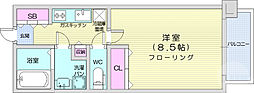 リビングステージ広瀬川 5階1Kの間取り