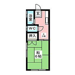コーポ南材E棟[2階]の間取り