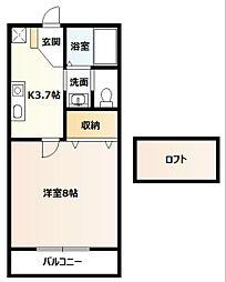 神奈川県厚木市戸室1丁目の賃貸アパートの間取り