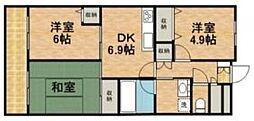 神奈川県川崎市中原区宮内2丁目の賃貸マンションの間取り