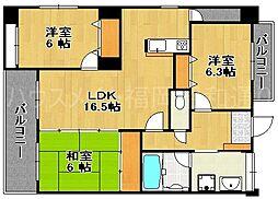福岡県福岡市中央区平和3丁目の賃貸マンションの間取り