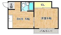 メイゾンサンライフ 3階1DKの間取り