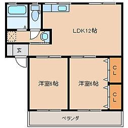 富士コーポ[1階]の間取り