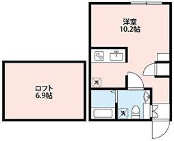 西武池袋線 飯能駅 徒歩10分の賃貸アパート 1階1Kの間取り