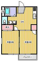 レジデンス内山A棟[202号室]の間取り