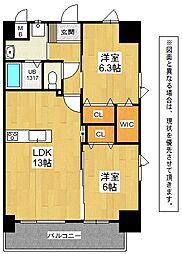 福岡県北九州市小倉北区片野新町3丁目の賃貸マンションの間取り