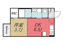 JR内房線 浜野駅 徒歩5分の賃貸アパート 2階1DKの間取り