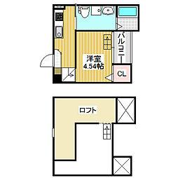 愛知県名古屋市中川区万町の賃貸アパートの間取り