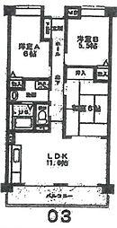クレール武庫之荘[203号室]の間取り