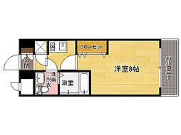 JR鹿児島本線 箱崎駅 徒歩1分の賃貸マンション 11階1Kの間取り