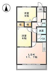 カサ・フェリス中柳[3階]の間取り