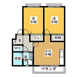 愛知県愛知郡東郷町清水1丁目の賃貸アパートの間取り