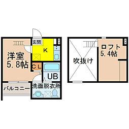 愛知県名古屋市緑区大高町字鶴田の賃貸アパートの間取り