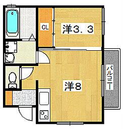 ヴィラ男山泉[2階]の間取り