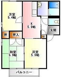ソレイユ岡崎B[1階]の間取り