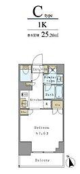 つくばエクスプレス 新御徒町駅 徒歩3分の賃貸マンション 6階1Kの間取り