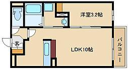 兵庫県尼崎市東園田町3丁目の賃貸アパートの間取り