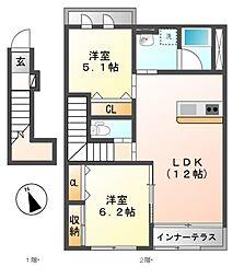 愛知県岩倉市大山寺町神田の賃貸アパートの間取り