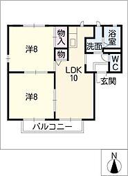 アイエスティ B棟[2階]の間取り