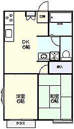 ビラ・ネプチューンA棟[1階]の間取り