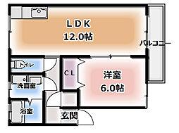 大阪府門真市石原町の賃貸アパートの間取り