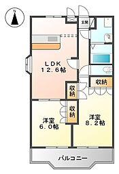 フローラル・アベニュー壱番館 2階2LDKの間取り