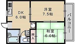 大阪府和泉市伯太町6丁目の賃貸マンションの間取り