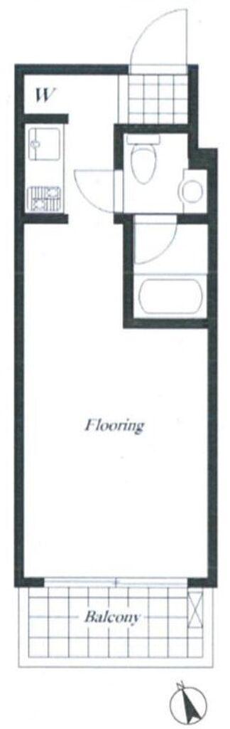 間取り(専有面積19.44平米、バルコニー面積3.24平米~南向きのワンルーム)