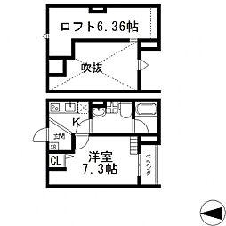 Cachette noire(カシェット ノアール)[102号室号室]の間取り