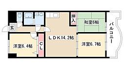 愛知県名古屋市瑞穂区萩山町2丁目の賃貸マンションの間取り
