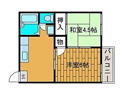 サニーハウス1[2階]の間取り