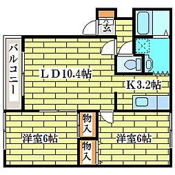 プロシードシティ平岡[1階]の間取り