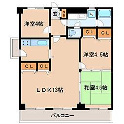 モンテベルデ花京院[10階]の間取り